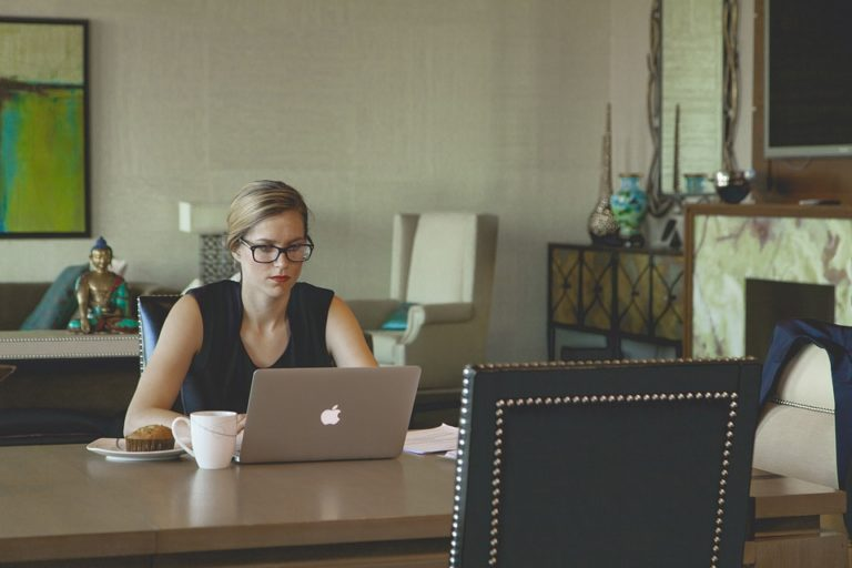 Breakfast Laptop Woman Desk Working Woman Coffee